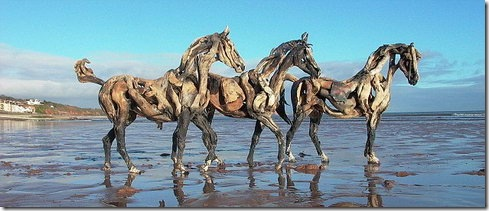 Driftwood Horse Sculptures - Heather Jansch