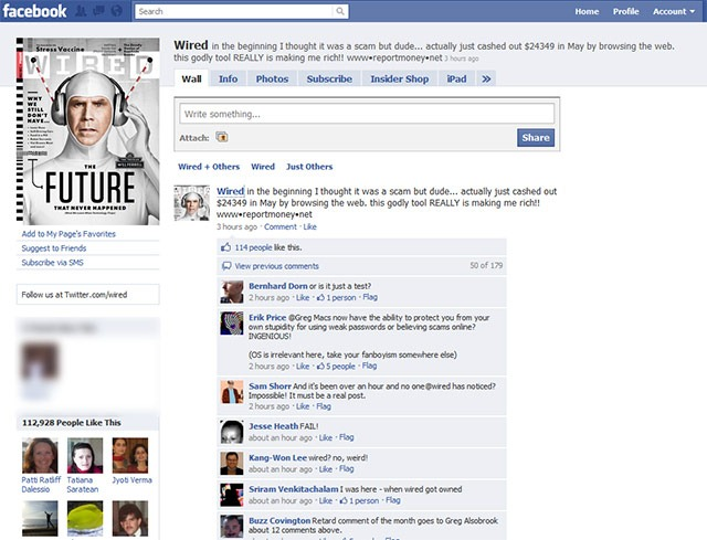 wired s facebook page hacked