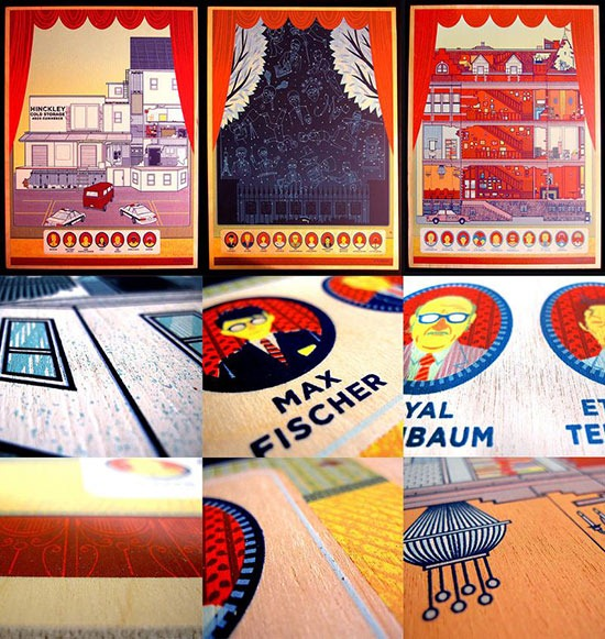 Kevin_Tong_Royal Tenenbaums_Rushmore_ and_ Bottle_ Rocket_silk_screen_prints_ on _wood _panel