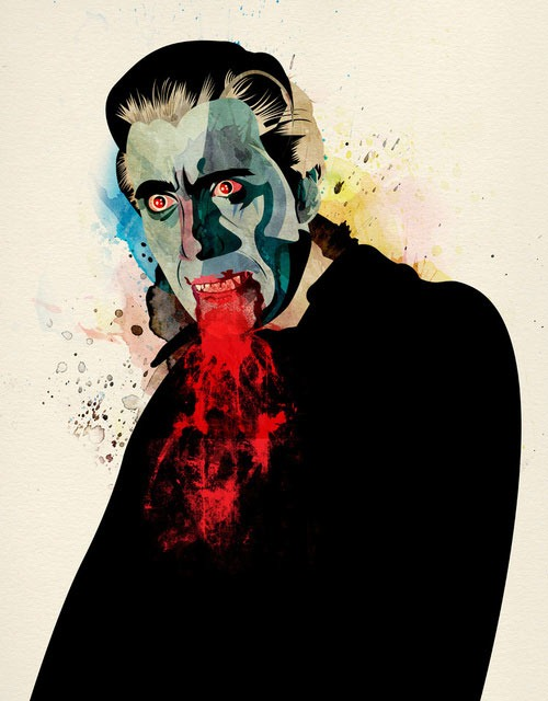 Christopher Lee as Dracula, an Illustration by Alvaro Tapia Hidalgo