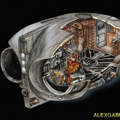 Cross-Section Illustration of The Watchmen Owl Ship