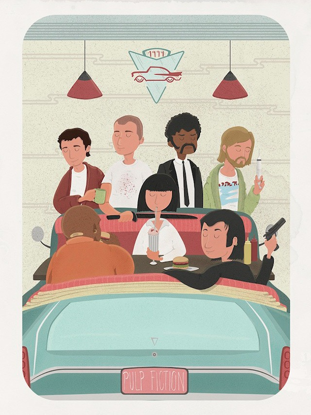 Pulp-fiction-Coffee-break-for-the-show-Quentin-vs-Coen-in-Spoke-art-gallery-(San-Francisco)-Maria-Suarez-Inclan