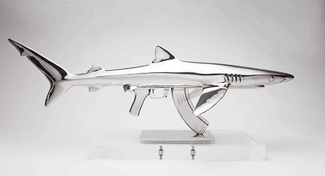 Shark-Gun-stainless-steel-sculptures-by-Chris-Schulz-Blue-AK_2
