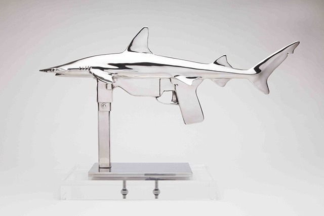 Shark-Gun-stainless-steel-sculptures-by-Chris-Schulz-Grease-Gun