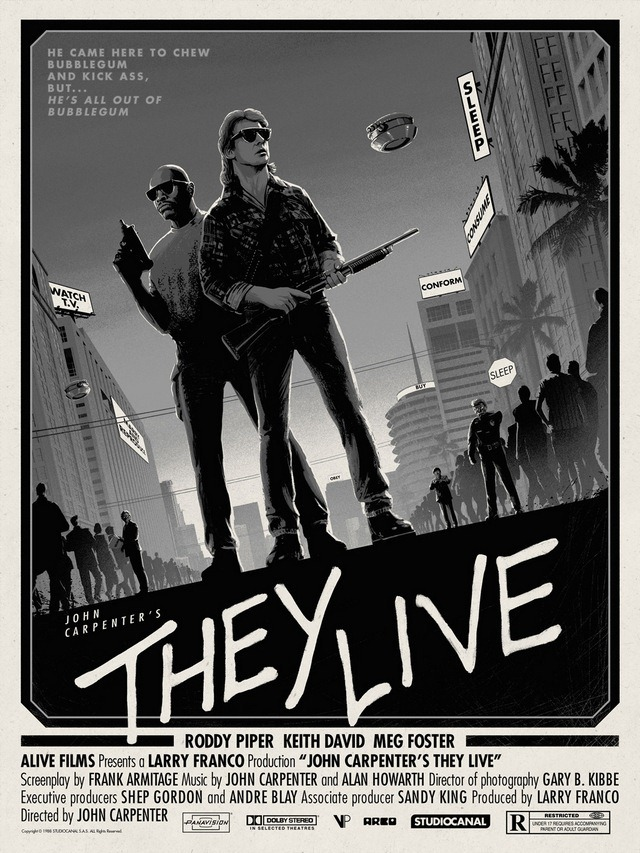 They Live Black and White Art Print by Matt Ferguson