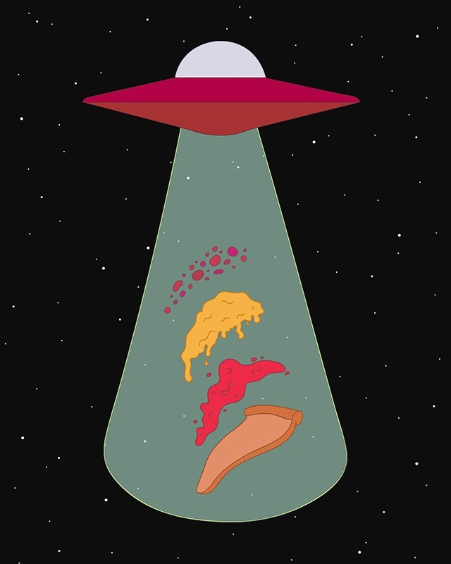 Jasmine Echols Graphic Design Illustrations UFO-pizza
