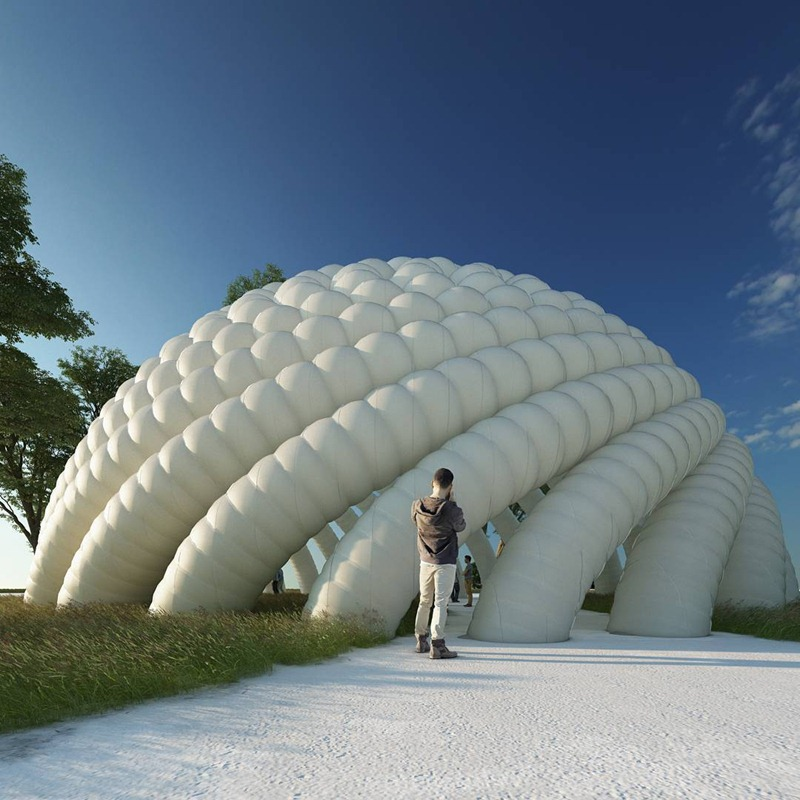 Inflatable structure outdoor sculpture