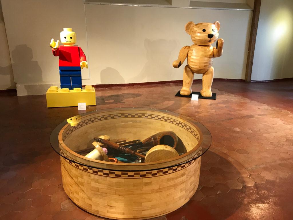 Giant trinket box, let go man and teddy bear by sculptor John Abery