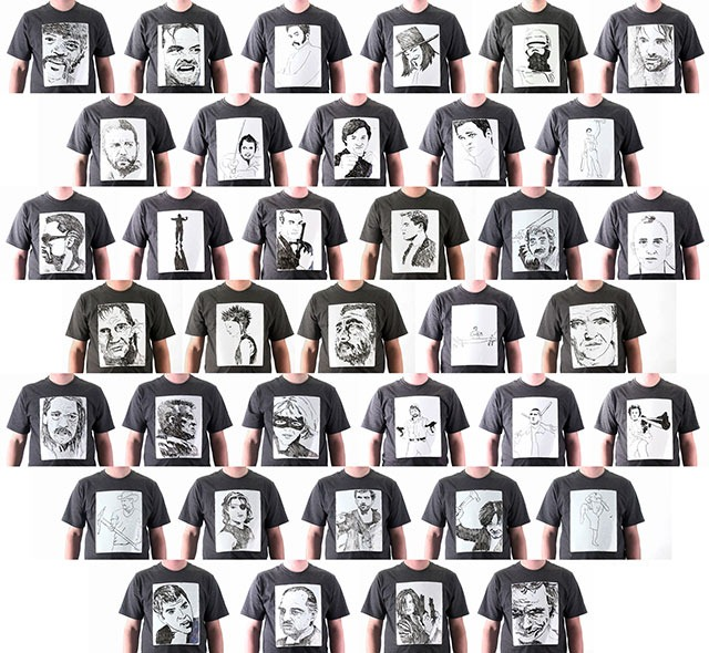 Read more about the article 38 Cinematic Badasses Drawn on a Whiteboard T-Shirt