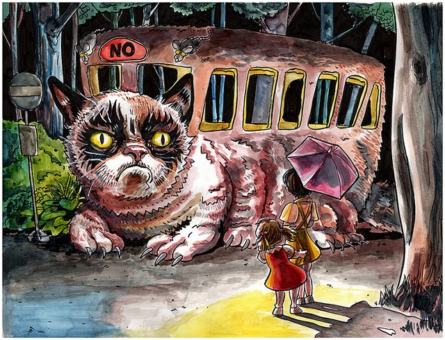 Read more about the article Meow! Parody Prints of Grumpy Cat and Lil Bub as Catbus